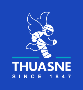 Thuasne logo identité packaging médical ange bleu