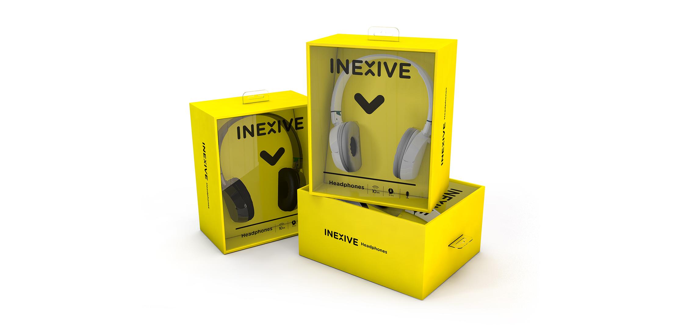 Inexive packaging auchan logo identité jaune flèche