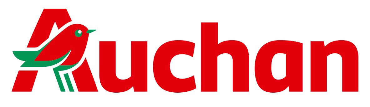 Auchan logo identité visuelle super marché oiseau rouge enseignes communication